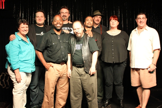 Night Terrors at the Kill Bar, Times Scare, August 2015 (from left, Alp Beck, Trevor Firetog, Marc Abbott, James Chambers, Oliver Baer, Steven Van Patten, Teel James Glenn, Kathleen Scheiner, Daniel Braum).