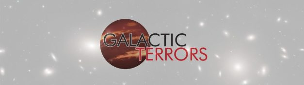 "Galactic Terrors logo: a planet in a starfield with the words ""Galactic Terrors"" in red and black."